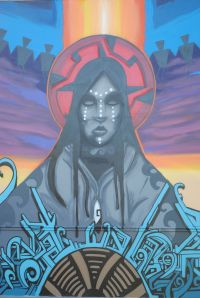 "Detail from the mural ""The Power of Mother Earth"" by Thomas ""Breeze"" Marcus."