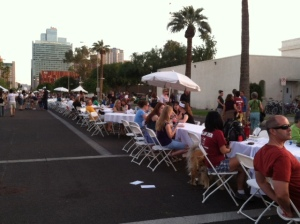 The mother of all community tables -- it's a half-mile-long, running down First Street in downtown Phoenix.
