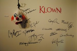 "That's Todd Daniel Grossman's crocheted piece ""Anywhere I Hang My Head"" announcing the participants in ""Klown!"""