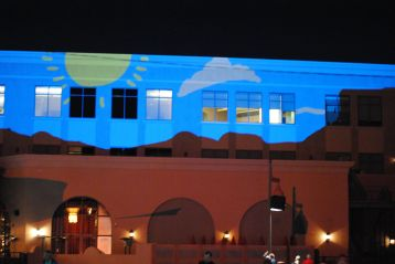 Ryan Griffin's installation for Canal Convergence gave ever-changing pictures projected onto a nearby facade.