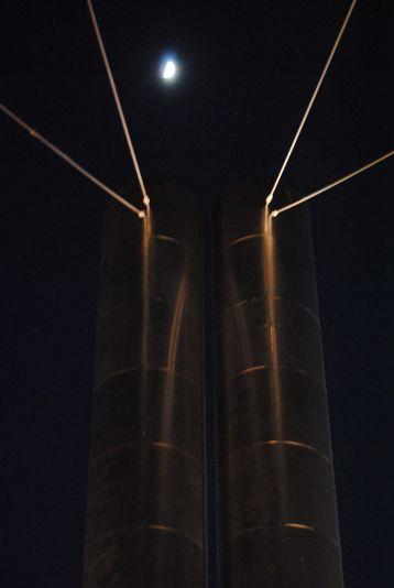 Soleri Bridge basked in the glow of the happenings at the Scottsdale Waterfront.