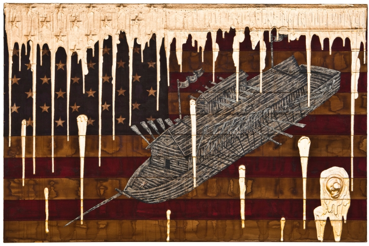 "Andrew Schoultz's ""Holy Vessel,"" composed of acrylic paint, gold leaf and a stretched American flag, was part of a stunning group show ""Gold Rush"" at Bentley in December. Photo courtesy of Bentley Gallery."