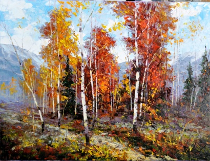 "Dean Bradshaw's ""Mountain Treasures"" was one of many autumnal odes in a solo show at the Marshall Gallery in downtown Scottsdale in October. Photo courtesy of the gallery."