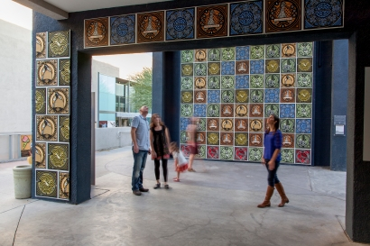 The prints of Jake Early were on prominent display in the bell tower near the Scottsdale Museum of Contemporary Arts, part of a Scottsdale Public Art initiative. Photo by Sean Deckert.