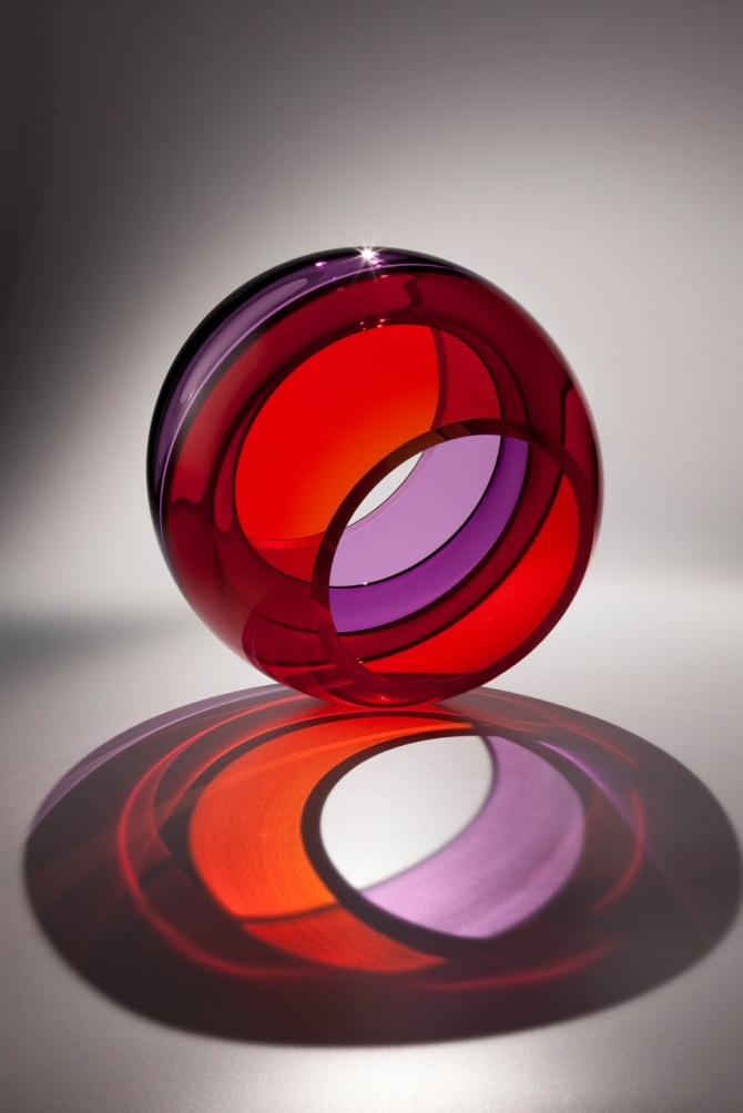 "The amazing glass art of John Kiley is on display at LewAllen Galleries in Scottsdale through January 12. This is ""Spherical Eclipse,"" image courtesy of LewAllen Galleries."