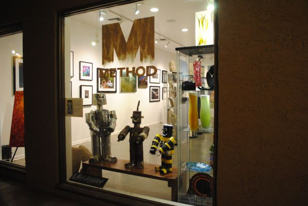 Robots by Alexi Devilliers in the window of Marshall Way's Method Art Gallery.