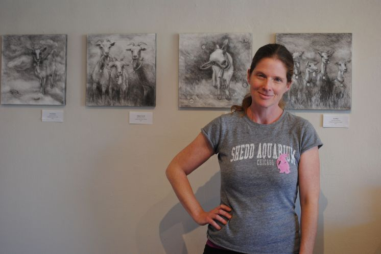 Anne Howey-Falvey at 515 Arts, where she is showing her animal-themed works of graphite on wood panel.