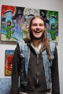 Artist Jake Stanhouse came down from Flagstaff to participate in the open studio at Gallery La Melgosa.