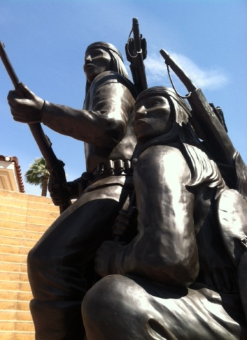 """Unconquered II"" (1994), by Allan Houser, part of the American Indian War Veterans Memorial on the grounds of the Heard Museum."