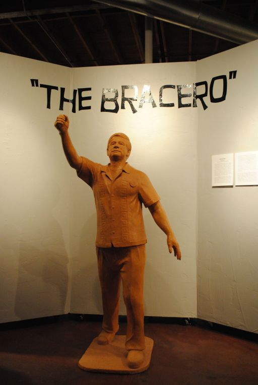 "A model of Zarco Guerrero's Cesar Chavez monument graces the entrance to ""The Bracero"" at Willo North Gallery."