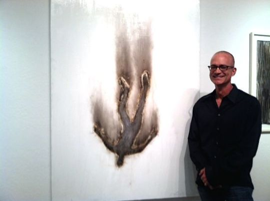 """John Tuomisto-Bell with """"Falling Man #11"""" at R. Pela Contemporary."""