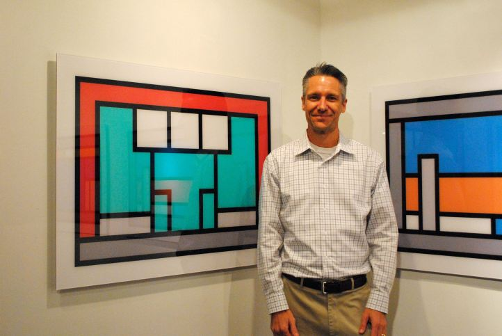 "Although the work suggests architecture or locations, Jeff Davis lets computer algorithms ""create"" his abstract paintings. The work is up at monOrchid's Bokeh Gallery."