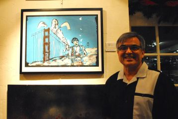 "One of my best stops was at the Olney Gallery in Trinity Cathedral, where local artists have created HIV/AIDS-themed works to coincide with the cathedral's temporary display of portions of the national AIDS quilt. Curator Manny Burruel displays his print ""My Nino,"" in tribute to his late godfather."