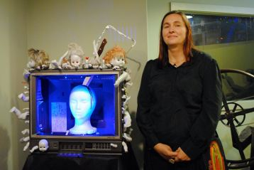 """Trish Justrish's wacky creation """"Join Us!"""" is part of a group show in which local artists explore life as lived in the glare of TV. The location is First Studio, which was once Phoenix's original television station."""