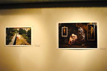 """As part of the ASU International Residency program, Maida Gruden from Belgrade, Serbia, curated a photography show spotlighting both her students and Phoenix artists. A work by Nidaa Aboulhosn shares space with """"Rock and Caulk"""" by Ryan Parra."""