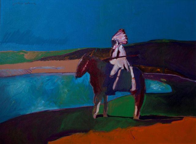 "Fritz Scholder, ""Indian Postcard #1,"" oil on canvas."
