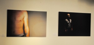 "Chris Oshana's portraits of soldiers recovering from PTSD include ""Numbers"" (left) and ""Attention."""