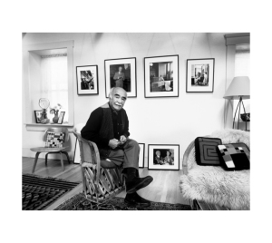 AZ photographer Pedro Guerrero, in his home, surrounded by Frank Lloyd Wright mementos.